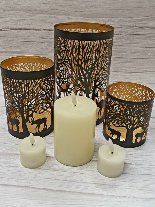Glowray Stag in Forest Lantern & Candles