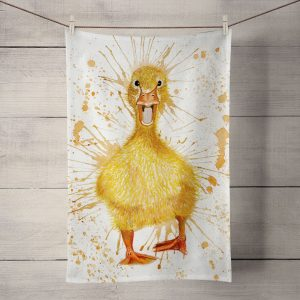 splatter duck tea towel by Katherine Williams J R Interiors