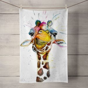 splatter rainbow giraffe tea towel J R Interiors